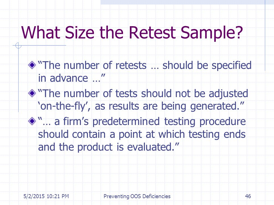 What Size the Retest Sample
