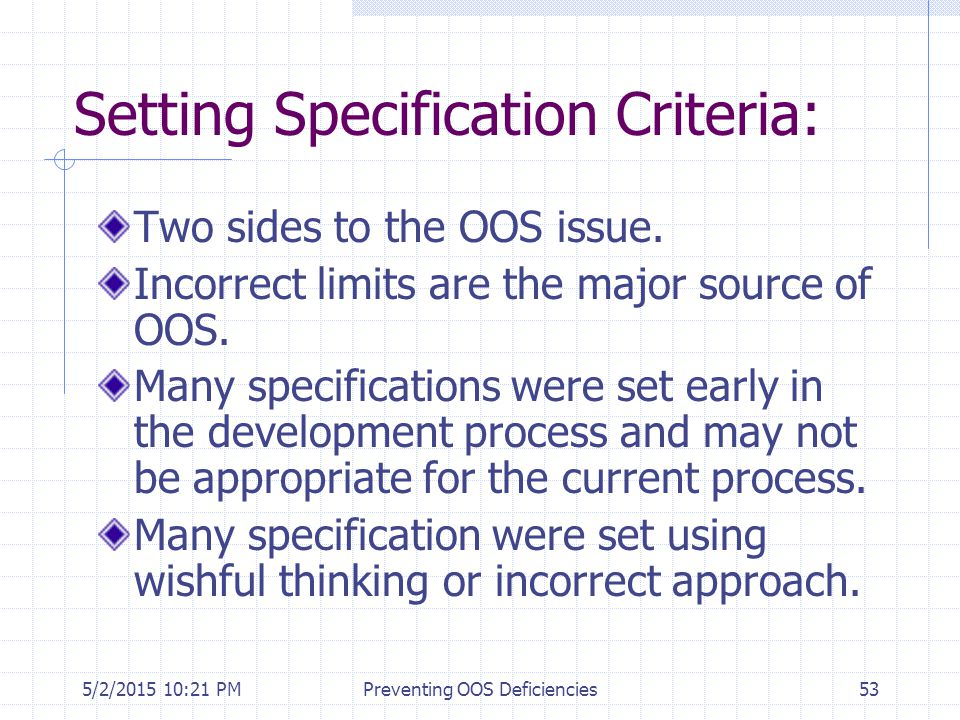 Setting Specification Criteria: