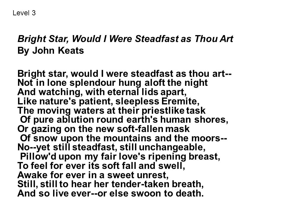 Bright Star, Would I Were Steadfast as Thou Art By John Keats