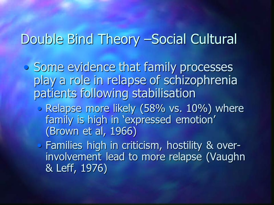 Double Bind Theory –Social Cultural