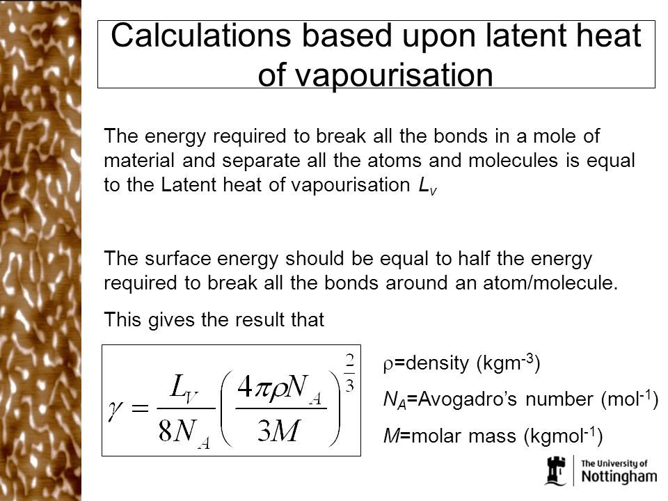 Calculations based upon latent heat of vapourisation
