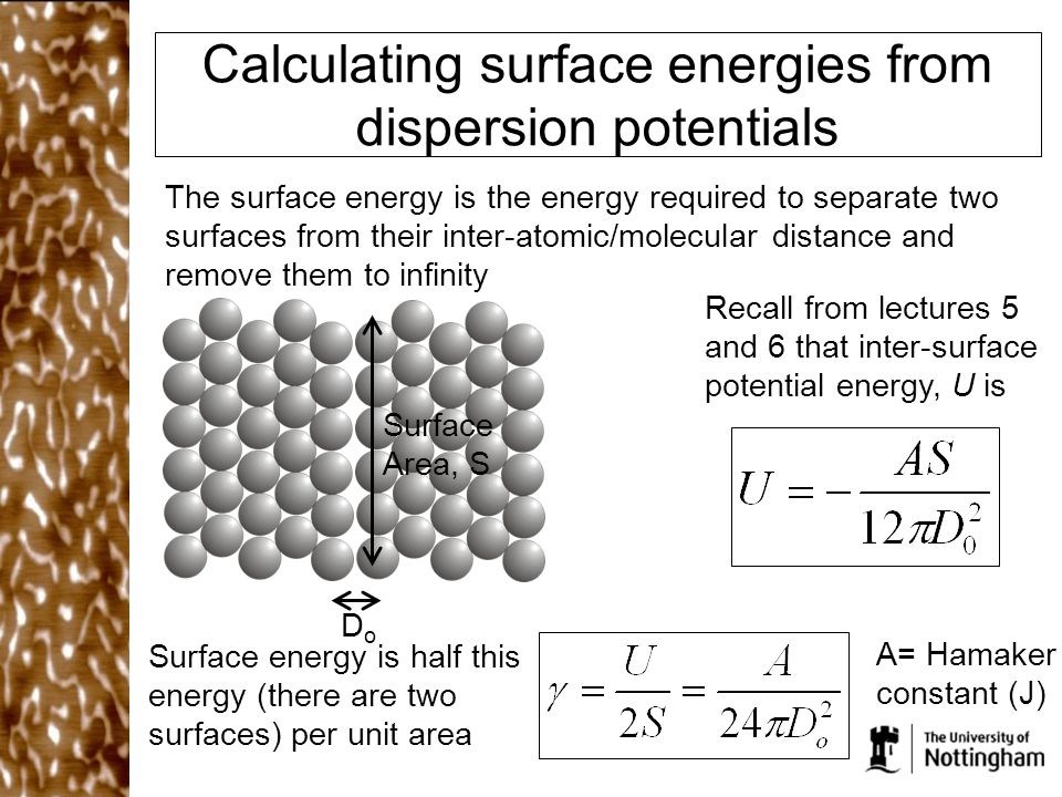 Calculating surface energies from dispersion potentials