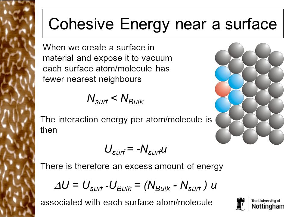 Cohesive Energy near a surface