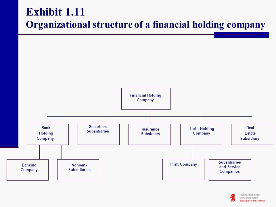 Exhibit 1.11 Organizational structure of a financial holding company