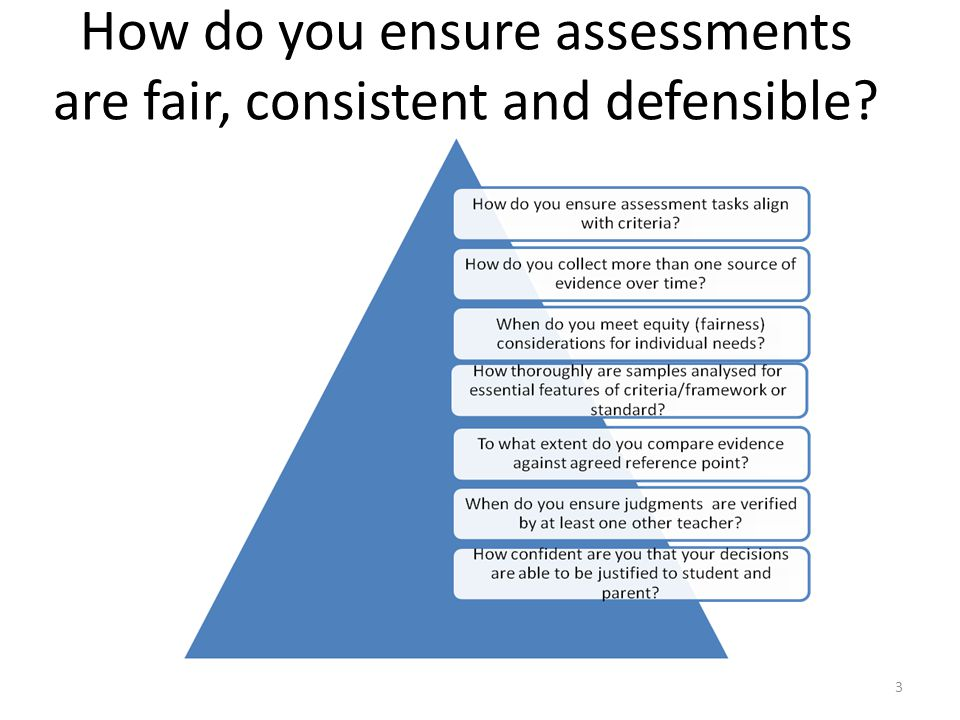 How do you ensure assessments are fair, consistent and defensible