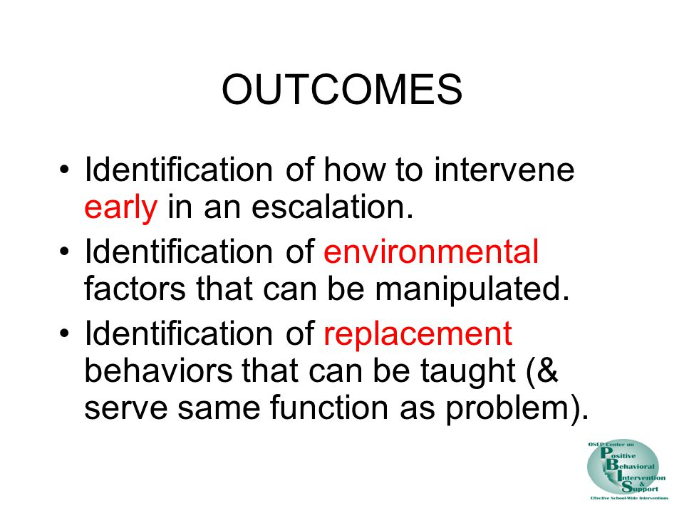 OUTCOMES Identification of how to intervene early in an escalation.