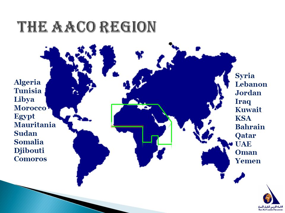 The AACO Region Syria Lebanon Jordan Iraq Kuwait KSA Bahrain Qatar UAE