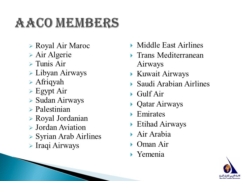AACO members Middle East Airlines Royal Air Maroc