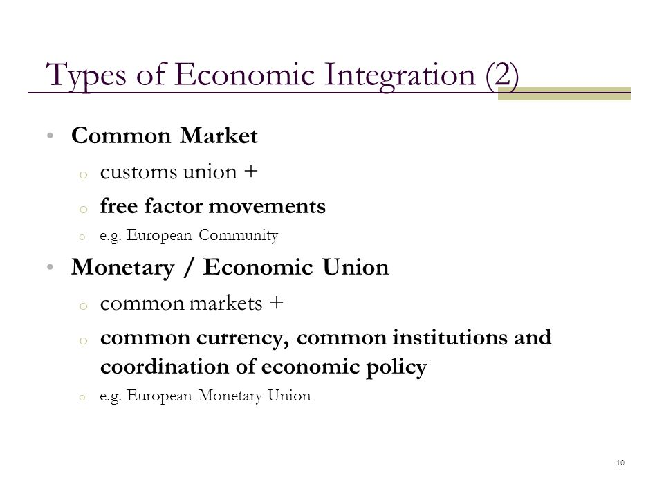 Types of Economic Integration (2)