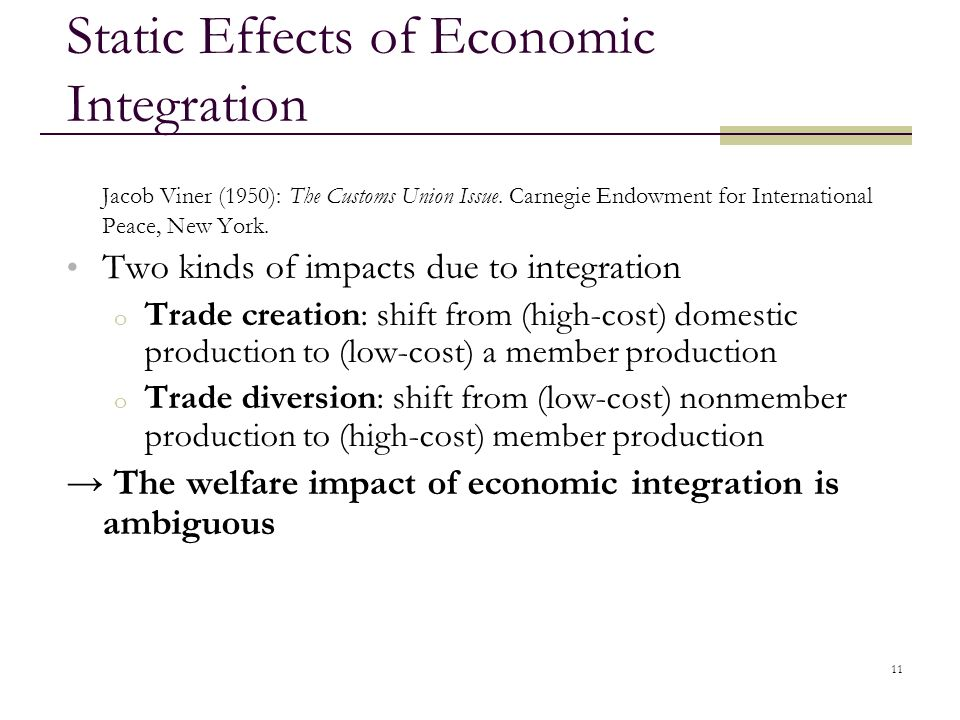 Static Effects of Economic Integration