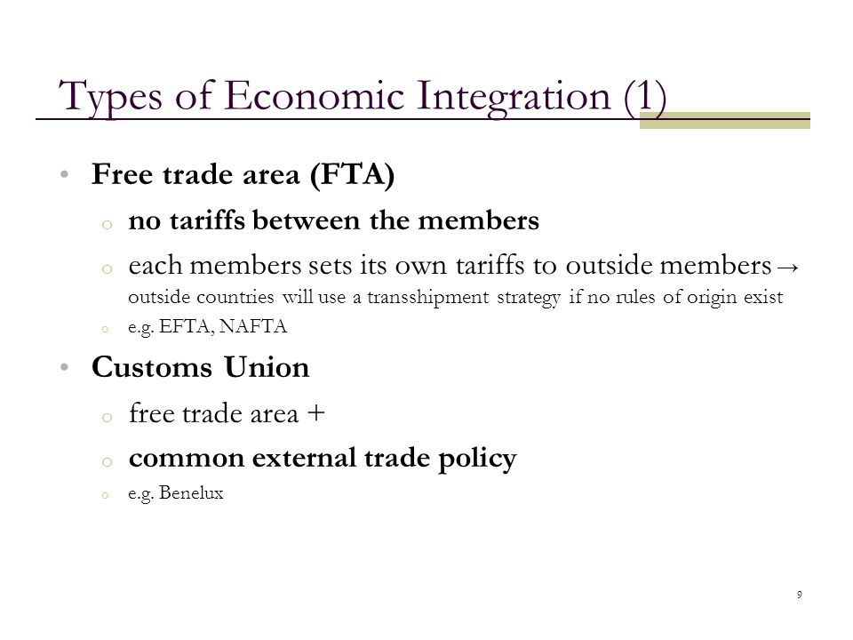 Types of Economic Integration (1)