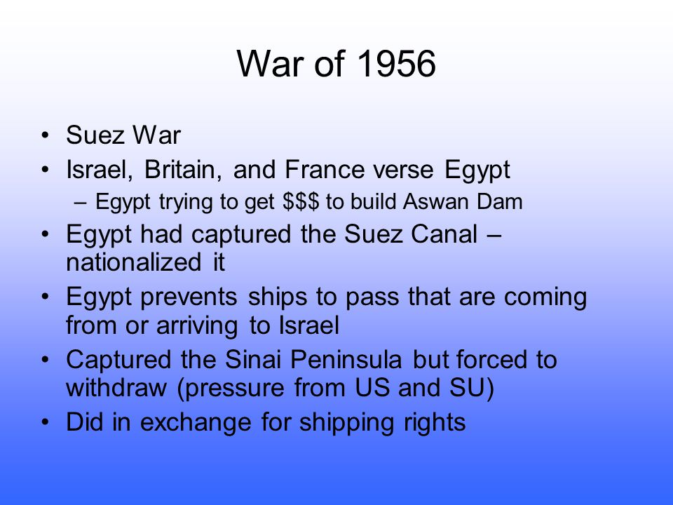 War of 1956 Suez War Israel, Britain, and France verse Egypt
