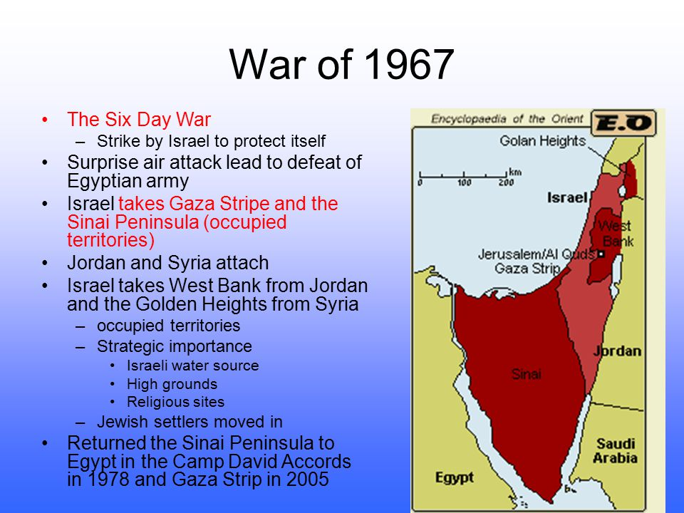 War of 1967 The Six Day War. Strike by Israel to protect itself. Surprise air attack lead to defeat of Egyptian army.