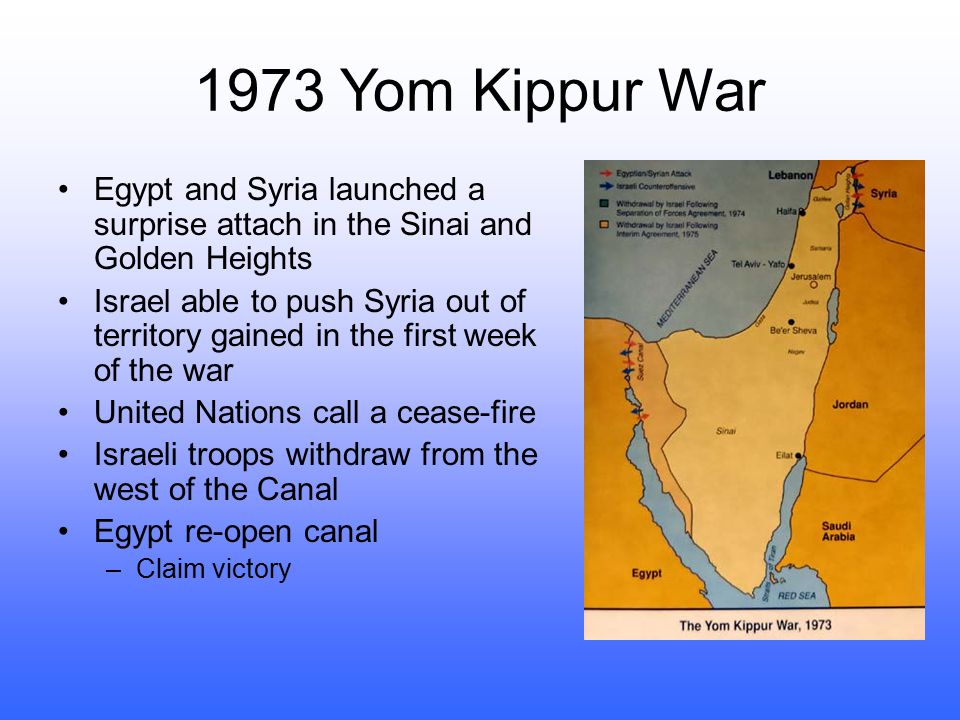 1973 Yom Kippur War Egypt and Syria launched a surprise attach in the Sinai and Golden Heights.