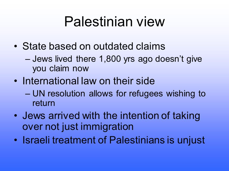 Palestinian view State based on outdated claims