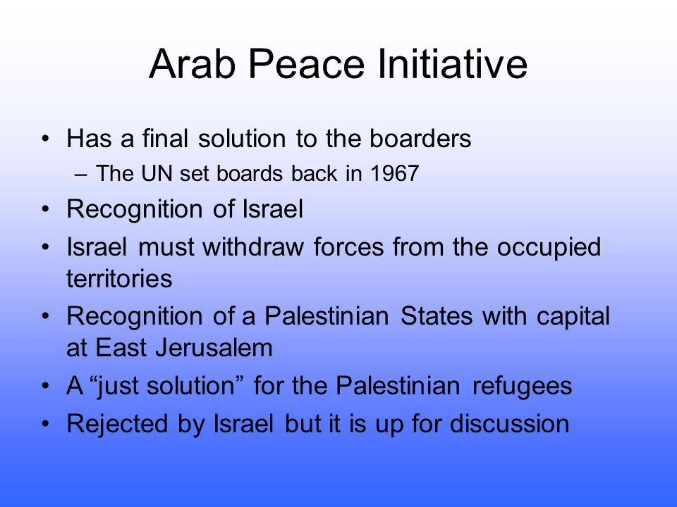 Arab Peace Initiative Has a final solution to the boarders