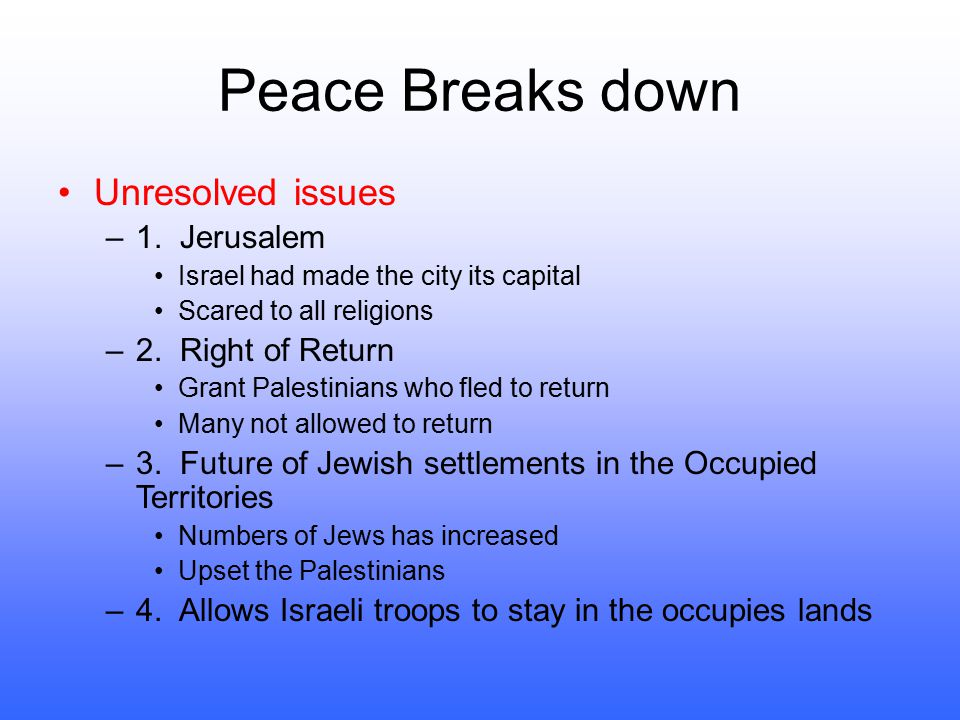 Peace Breaks down Unresolved issues 1. Jerusalem 2. Right of Return