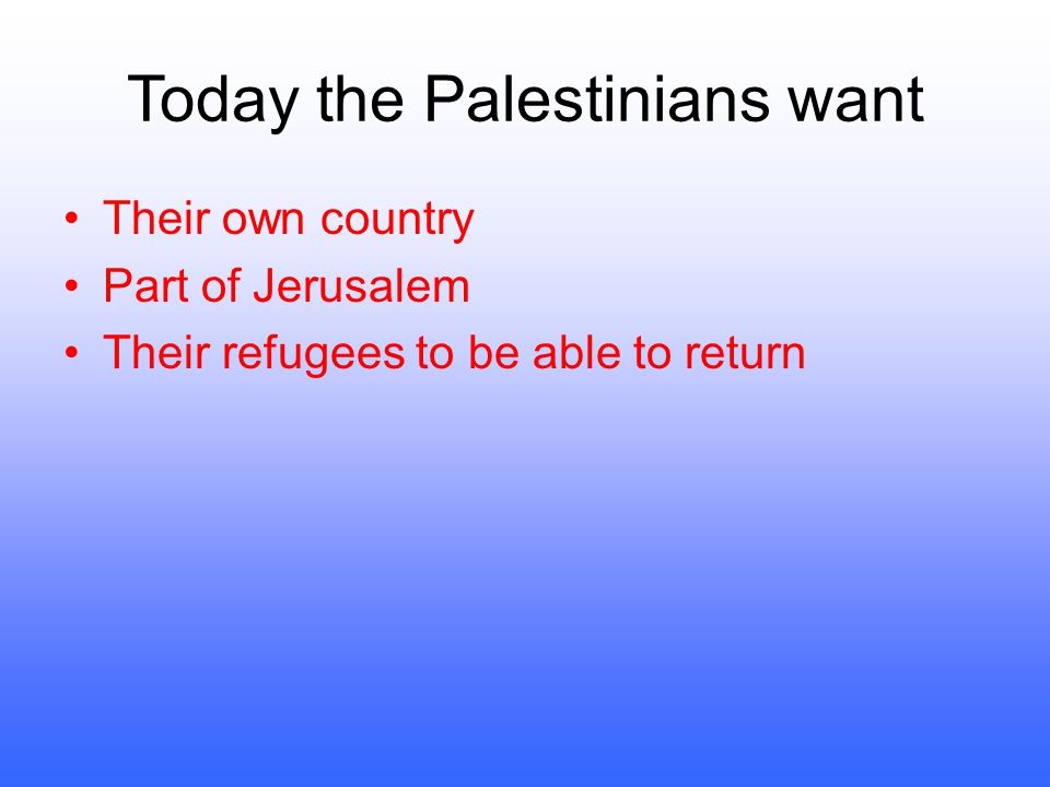Today the Palestinians want
