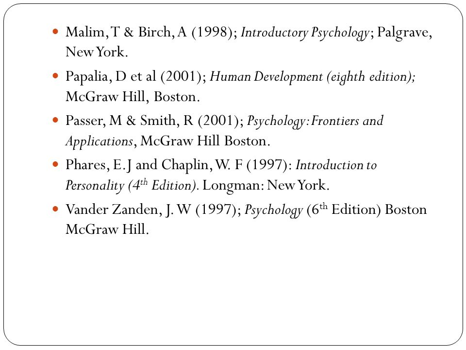 Malim, T & Birch, A (1998); Introductory Psychology; Palgrave, New York.