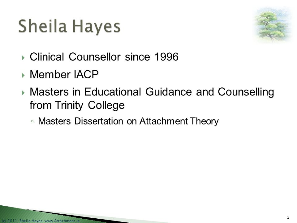 Sheila Hayes Clinical Counsellor since 1996 Member IACP