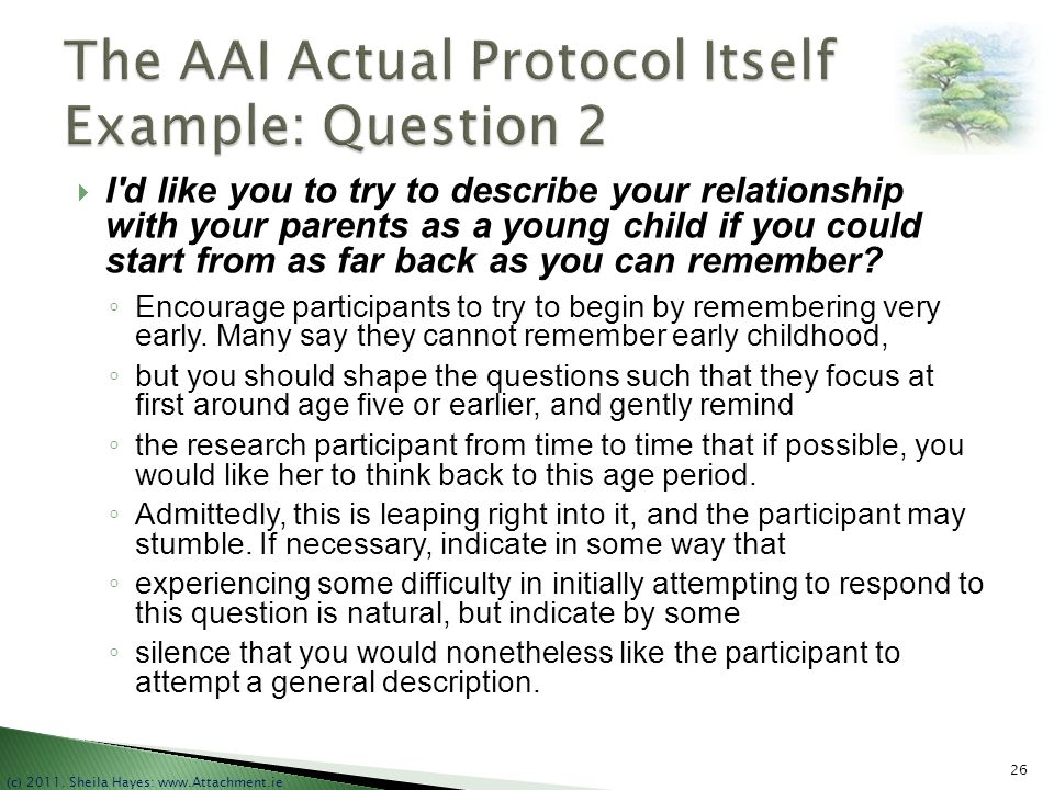 The AAI Actual Protocol Itself Example: Question 2