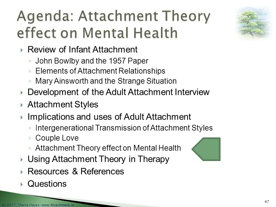 Agenda: Attachment Theory effect on Mental Health