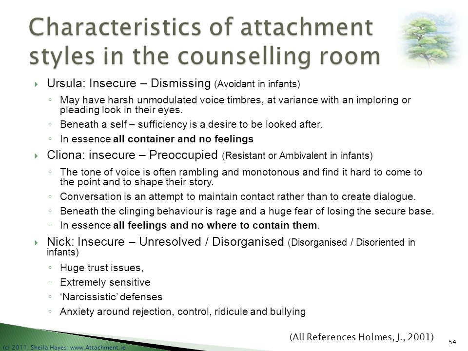 Characteristics of attachment styles in the counselling room