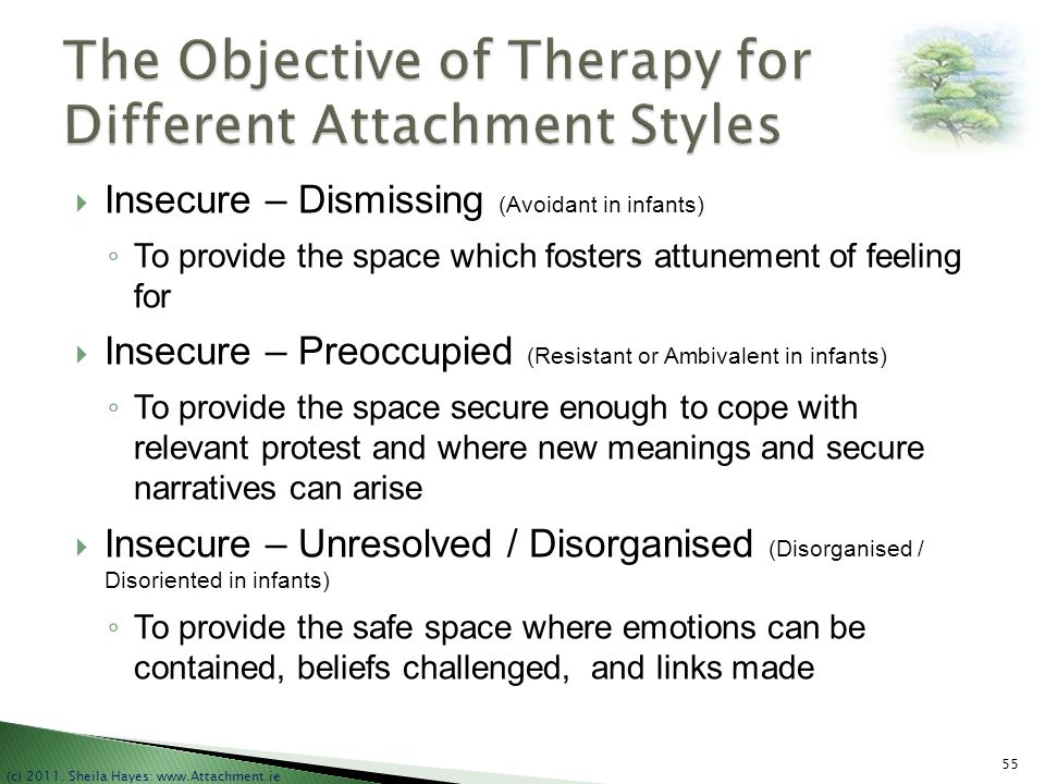 The Objective of Therapy for Different Attachment Styles