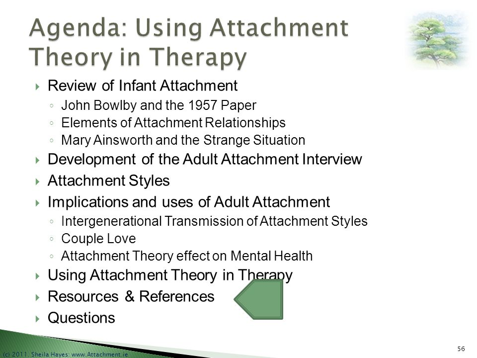 Agenda: Using Attachment Theory in Therapy