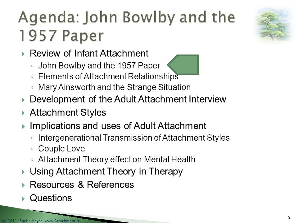 Agenda: John Bowlby and the 1957 Paper