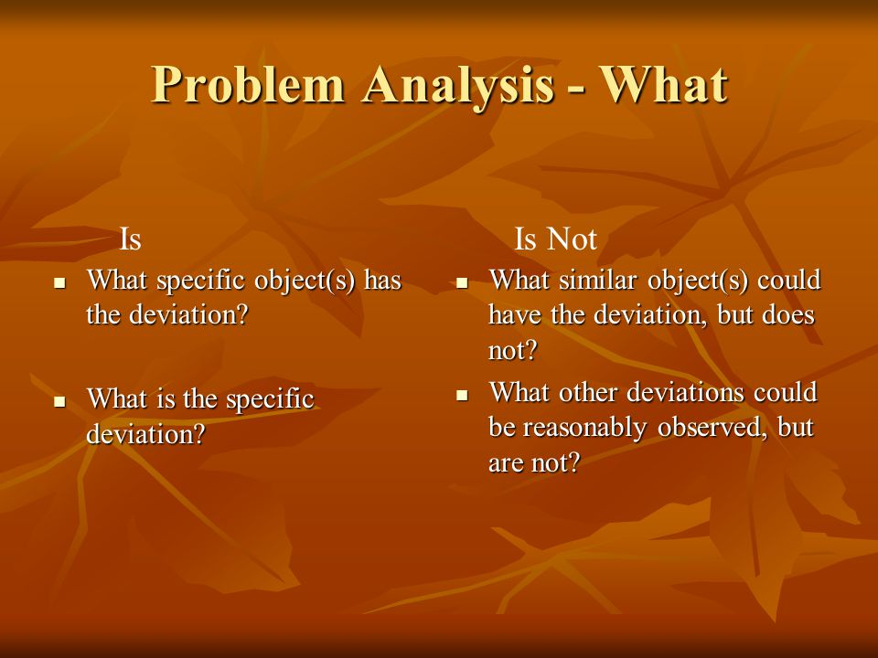 Problem Analysis - What