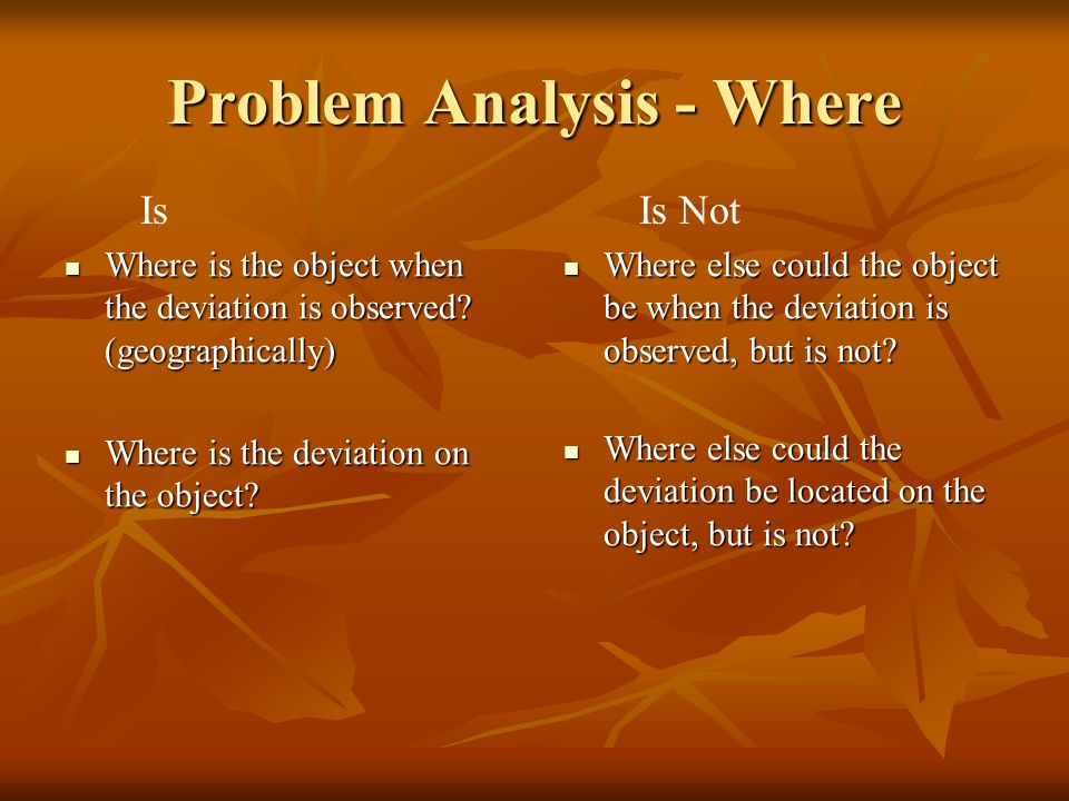Problem Analysis - Where