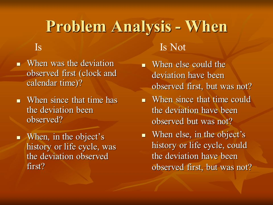 Problem Analysis - When