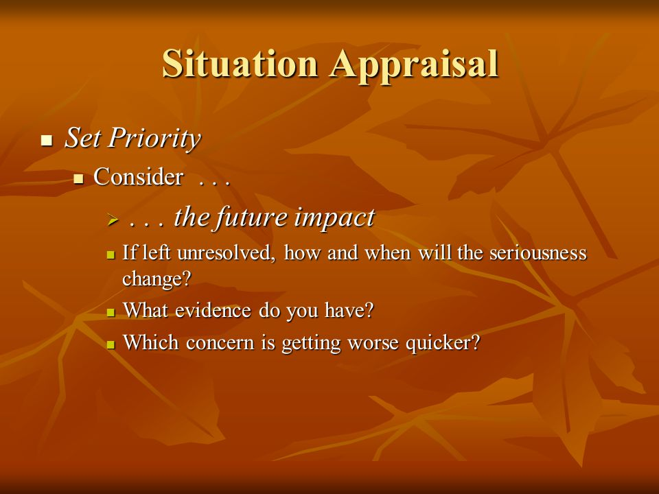 Situation Appraisal Set Priority . . . the future impact