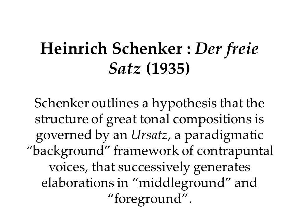 Heinrich Schenker : Der freie Satz (1935)