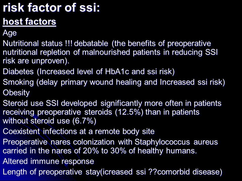risk factor of ssi: host factors Age