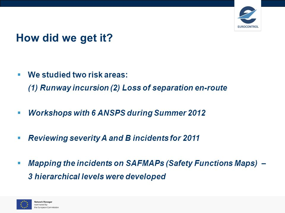 How did we get it We studied two risk areas: (1) Runway incursion (2) Loss of separation en-route.