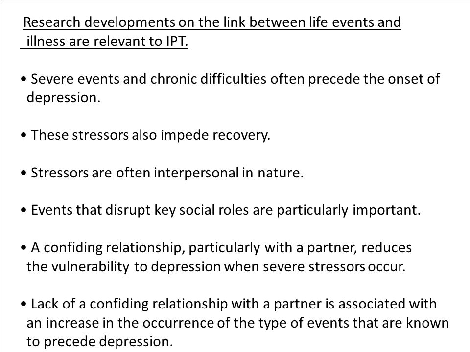 Research developments on the link between life events and