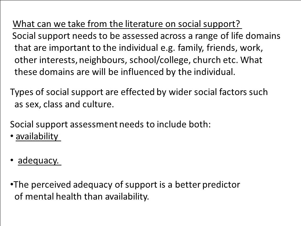 What can we take from the literature on social support