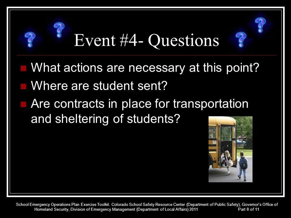 Event #4- Questions What actions are necessary at this point