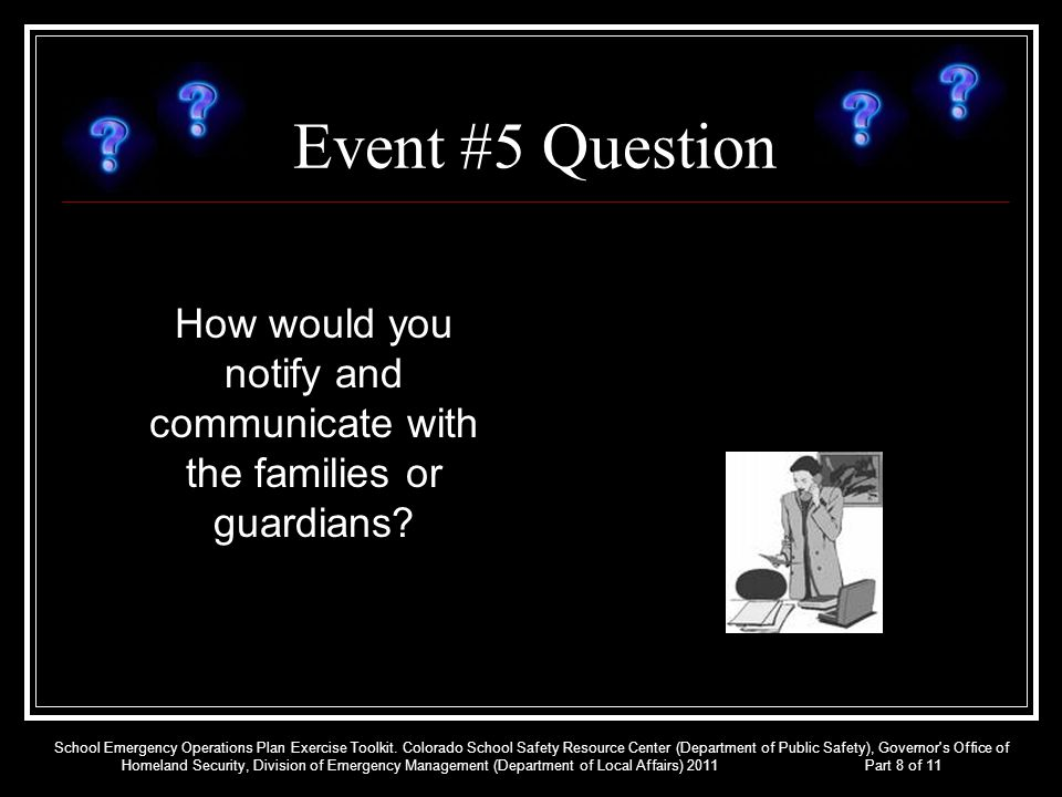 How would you notify and communicate with the families or guardians