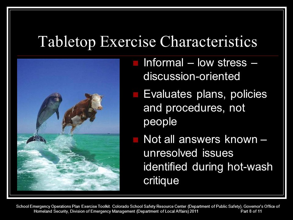 Tabletop Exercise Characteristics