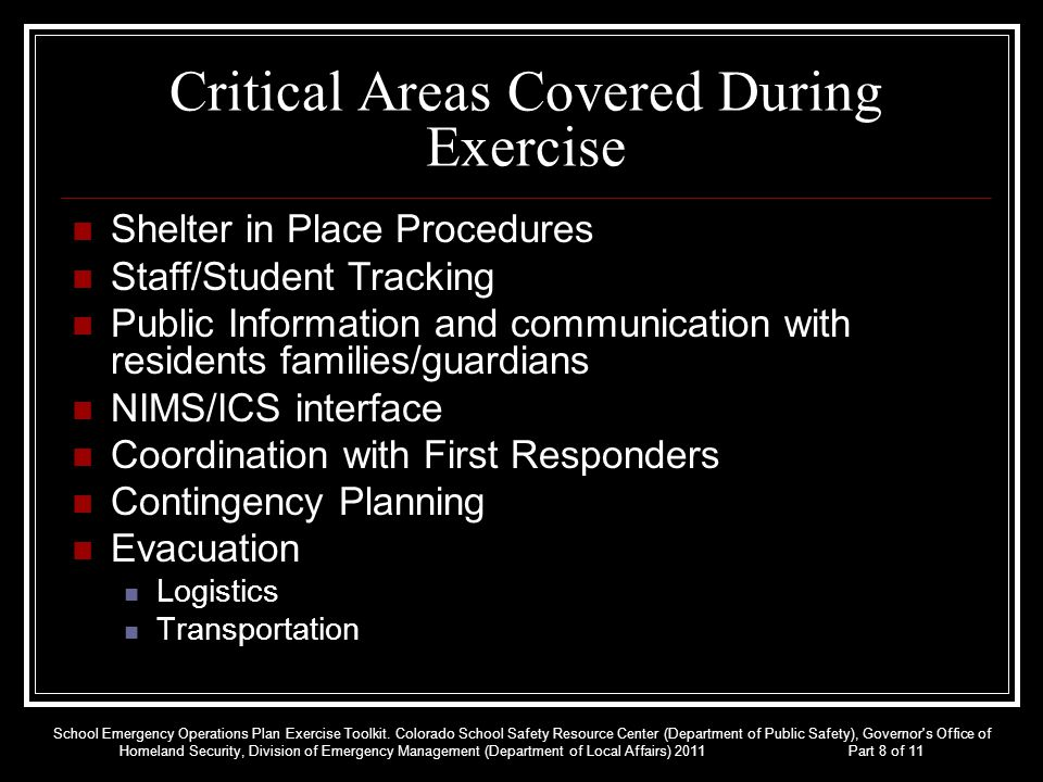 Critical Areas Covered During Exercise