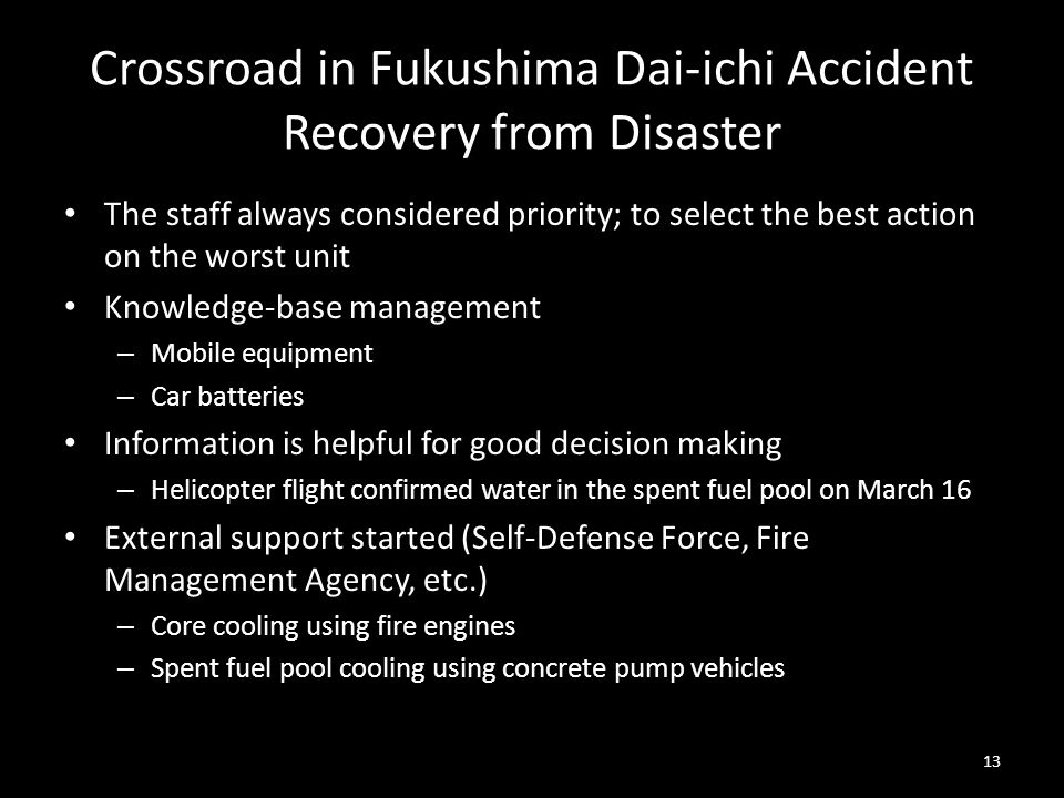 Crossroad in Fukushima Dai-ichi Accident Recovery from Disaster