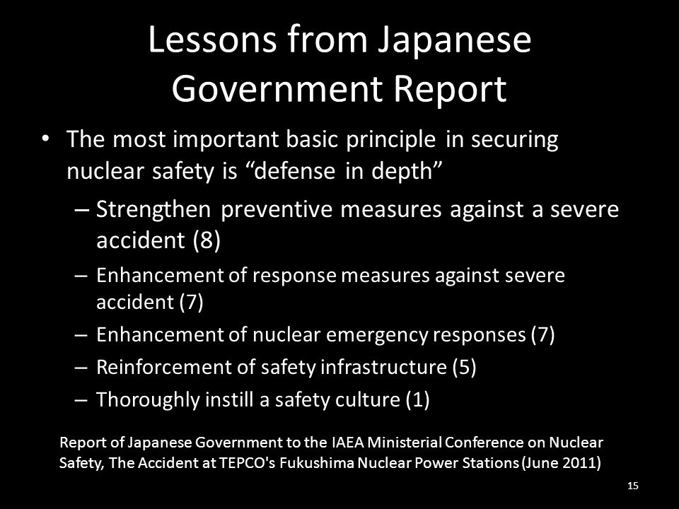 Lessons from Japanese Government Report