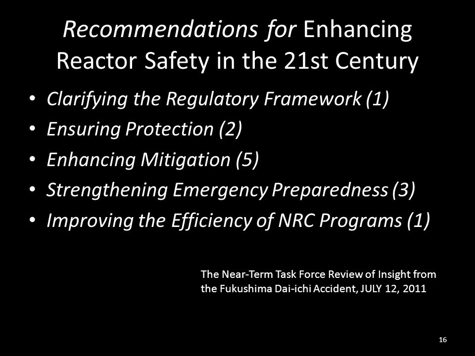 Recommendations for Enhancing Reactor Safety in the 21st Century