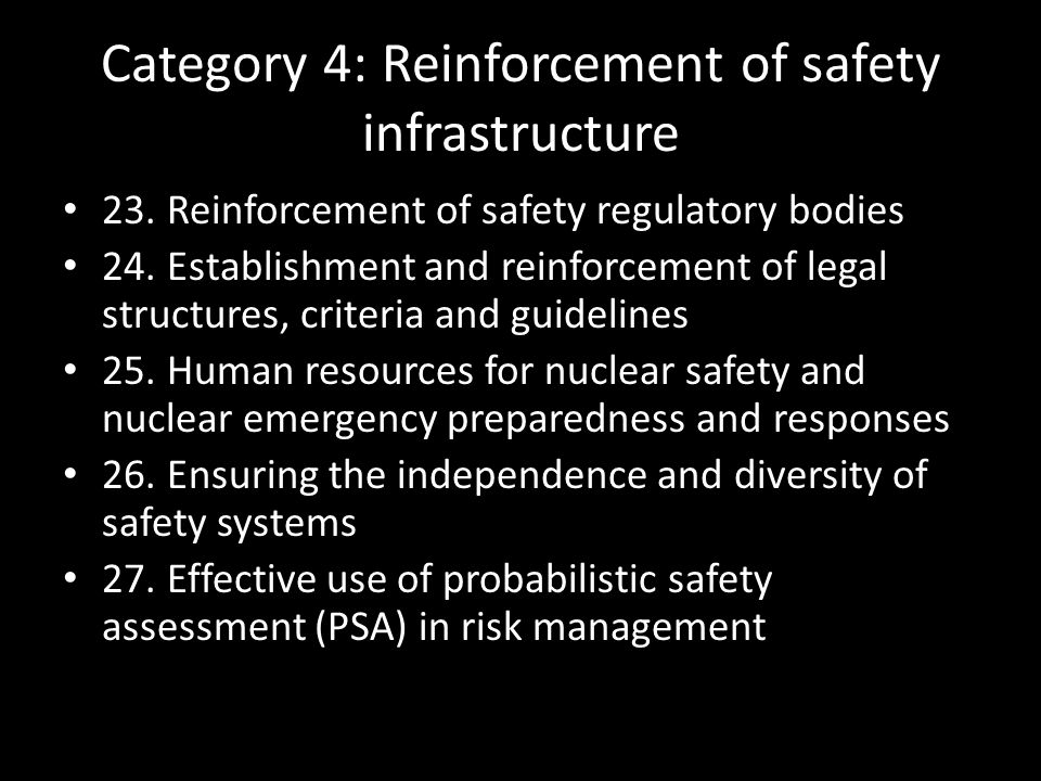 Category 4: Reinforcement of safety infrastructure