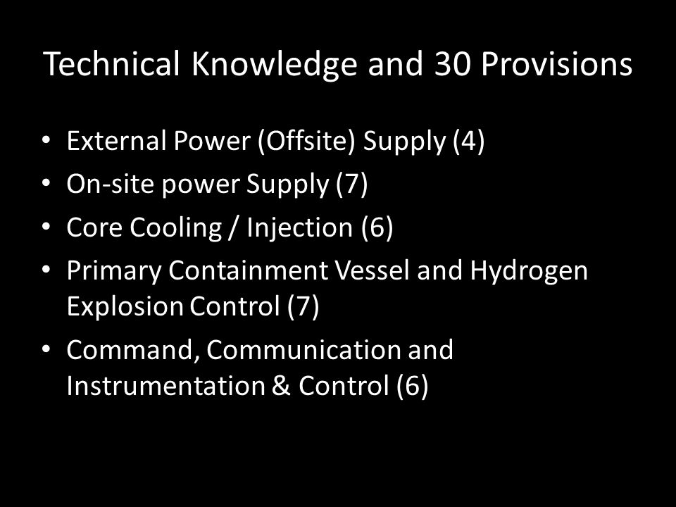 Technical Knowledge and 30 Provisions