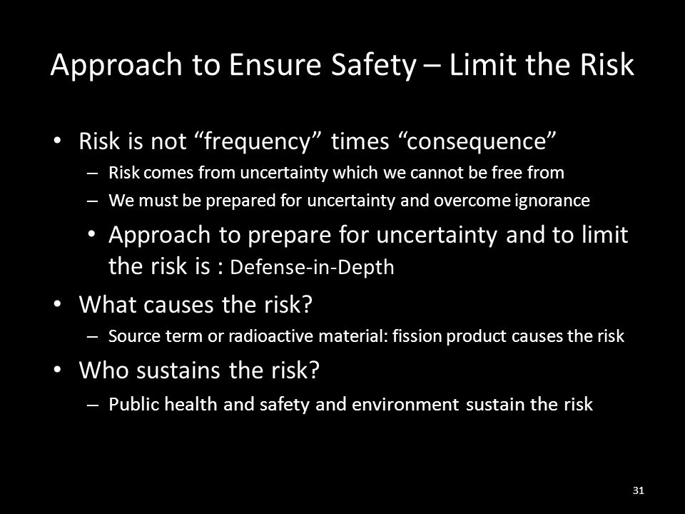 Approach to Ensure Safety – Limit the Risk