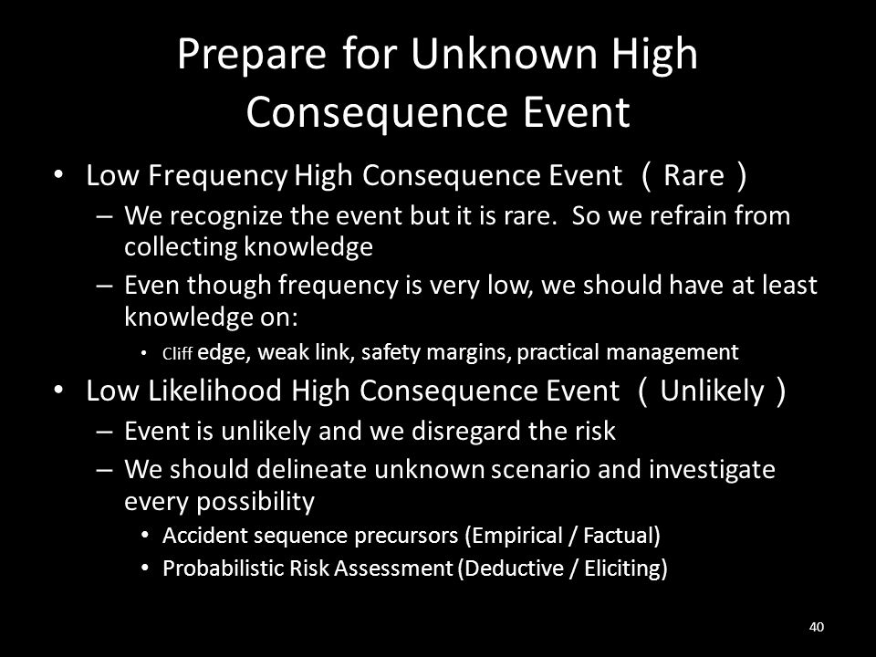 Prepare for Unknown High Consequence Event